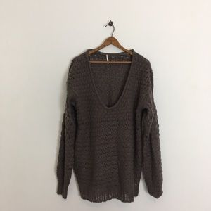 Free People Pullover Sweater Oversize Scoop Neck M